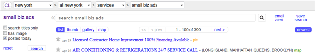 Craigslist SmBizAds Posted Today
